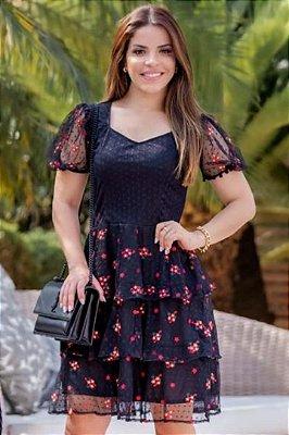 Vestido Lady Like Moda Evangelica com detalhes em babados e tule RP