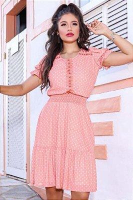 Vestido Lady Like Moda Evangelica em Póa com detalhes em látex  RP