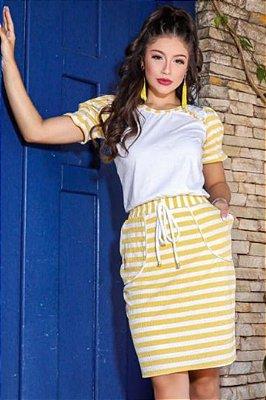 Vestido Tubinho Moda Evangelica com detalhes em Pérolas e bolso  RP