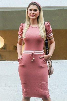 Vestido Tubinho Forrado Moda Evangelica Rose com detalhes em recortes e bolso DM