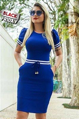 Vestido Tubinho Forrado Moda Evangelica Azul com detalhes em recortes e bolso DM