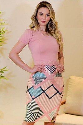 Vestido Tubinho Moda Evangelica Rose com saia estampada Maria Amore 3197