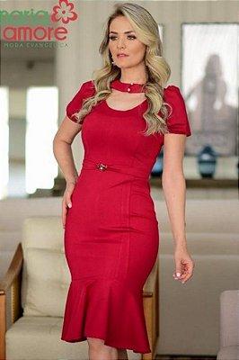 Vestido Barra Sino Moda Evangelica com detalhes na gola Maria Amore 3201