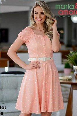Vestido Lady Like Moda Evangelica com detalhes em botões fake Maria Amore 3194