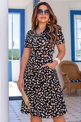 Vestido Moda Evangelica Preto com detalhes em gola laço Boutique K 4876