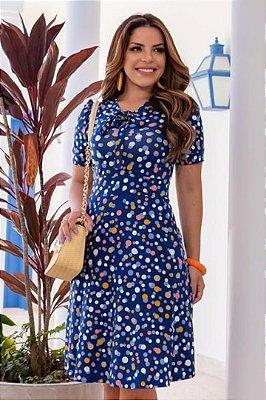 Vestido Moda Evangelica Azul com detalhes em gola laço Boutique K 4876
