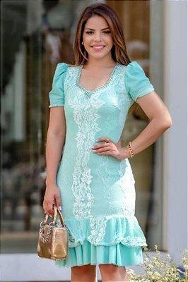 Vestido Barra Sino Moda Evangelica em Renda com detalhes em Pérolas RP