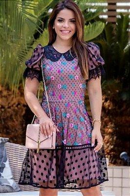 Vestido Lady Like Moda Evangelica em Tule Bordado RP