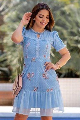Vestido Evasê Moda Evangelica em Tule Bordado e Pérolas RP