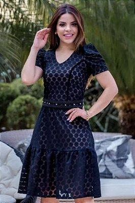 Vestido Lady Like Moda Evangelica em Renda Poliamida com cinto RP
