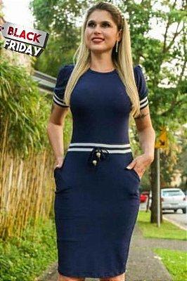 Vestido Tubinho Forrado Moda Evangelica  com detalhes em recortes e bolso DM