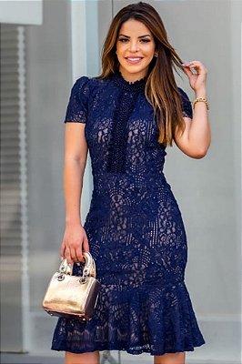Vestido Barra Sino Moda Evangelica Azul em Renda com detalhes em Pérolas RP