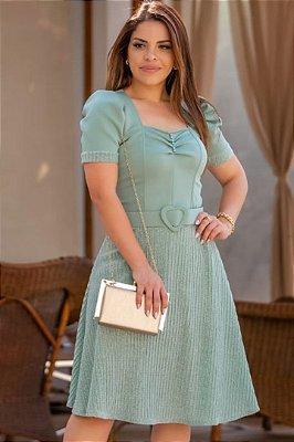 Vestido Lady Like Moda Evangelica com saia plissada em brilho RP