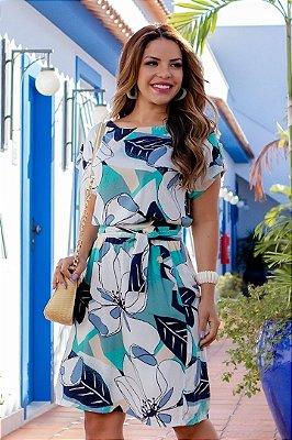 Vestido Evase Moda Evangelica estampado em Malha Canelada Boutique K 5071