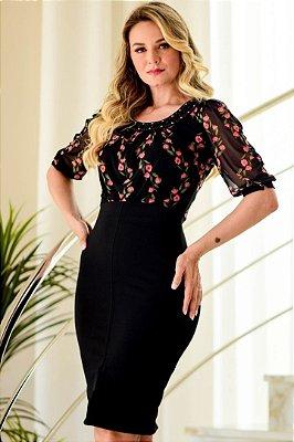 Vestido Tubinho Moda Evangelica com detalhes em Estampas Maria Amore 3276
