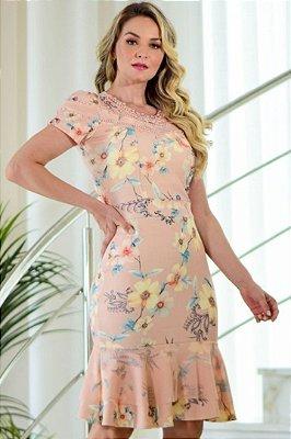 Vestido Barra Sino Moda Evangelica estampado com detalhes em Perolas Maria Amore 3262