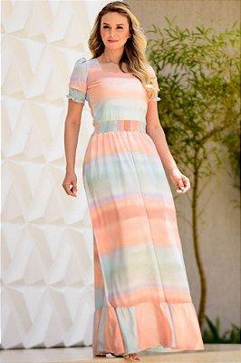 Vestido Longo Moda Evangelica com detalhes em Látex Maria Amore 3277