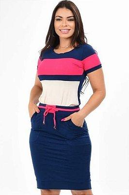Conjunto Moda Evangelica Rosa com amarração na cintura DM