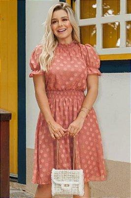 Vestido Lady Like Moda Evangelica Rose com detalhes em Lastex RP