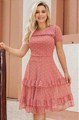 Vestido Lady Like Moda Evangelica com detalhes em Pérolas RP