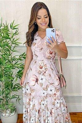 Vestido Longo Moda Evangelica estampado em tule Maria Amore 3304