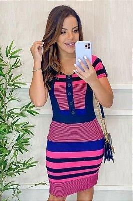 Vestido Tubinho Moda Evangelica com detalhes em recortes Maria Amore 3314