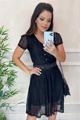 Vestido Lady Like Moda Evangelica Preto em Renda com detalhes em Botões KC