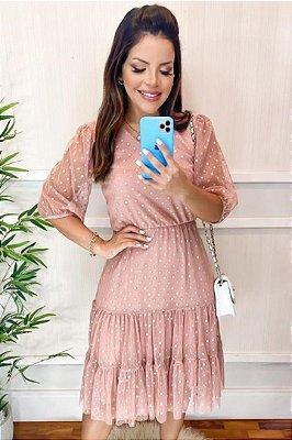 Vestido Lady Like Moda Evangelica Rose em Tule Póa KC