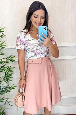 Vestido Lady Like Moda Evangelica Rose Estampado com detalhe em Cinto KC