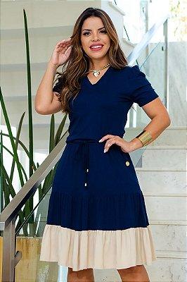 Vestido Lady Like Moda Evangelica Azul com detalhes em amarração Boutique K 5077