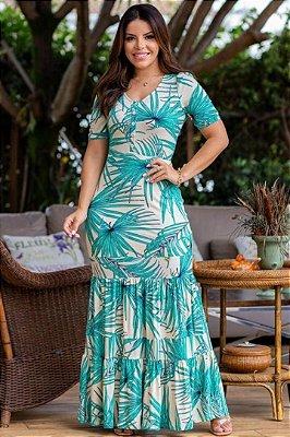 Vestido Longo Moda Evangelica estampado com detalhes em botões Boutique K 5078