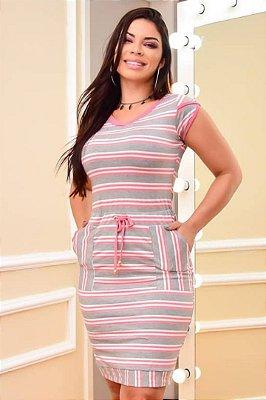 Vestido Tubinho Moda Evangelica Rosa listrado com detalhes em bolso DM