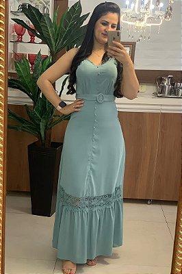 Vestido Longo Moda Evangelica em Viscose com Alça regulavél DM LF