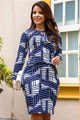 Vestido Tubinho Moda Evangelica Azul em Malha Fria com detalhes em bolso Boutique K 4766