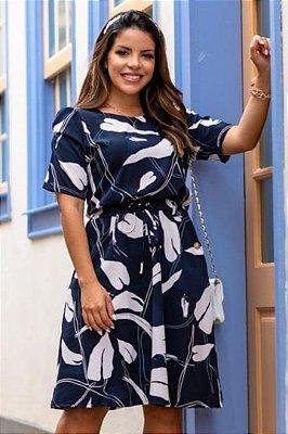 Vestido Lady Like Moda Evangelica estampado com detalhe em amarração na cintura Boutique K 5079