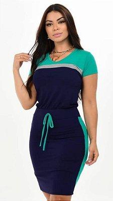 Vestido Tubinho Moda Evangelica Verde com detalhes em bolfo DM LF