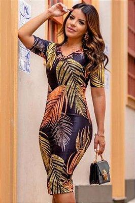 Vestido Tubinho Moda Evangelica em Neoprene Estampado Boutique K 4885