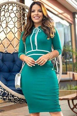 Vestido Tubinho Moda Evangelica Verde com detalhes em Bolso Boutique K