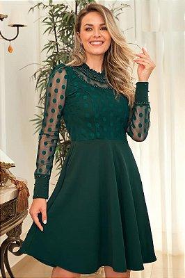 Vestido Lady Like Moda Evangelica Verde com detalhe em Perolas Maria Amore 3430