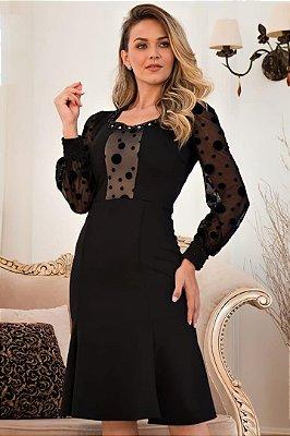 Vestido Evasê Moda Evangelica Preto com detalhe em Póa Maria Amore 3416