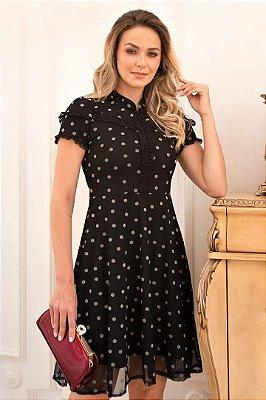 Vestido Lady Like Moda Evangelica Preto em Póa com aplicação em guipir Maria Amore 3415