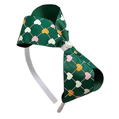 Tiara de Laço Verde com Corações