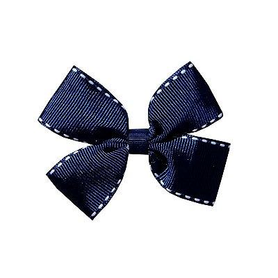 Laço Duplo Azul Pespontado - Duplo M