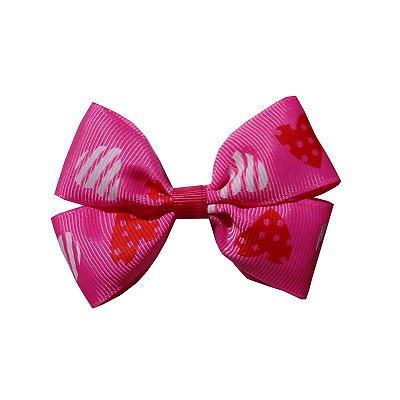Laço Duplo Coração Rosa - Duplo M