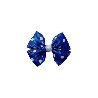 Laço Pequeno Azul Escuro Poá - Duplo P