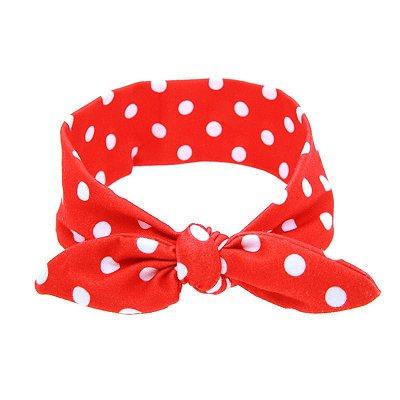 Headband Infantil - Vermelho com Poá Branco