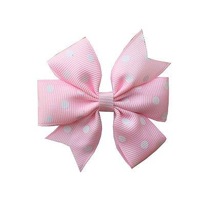 Laço Catavento Rosa Claro com Poá Branco - Londres