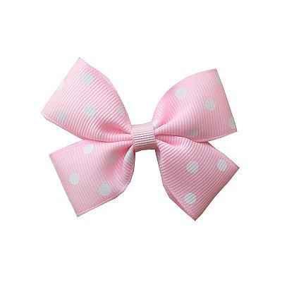 Laço Duplo Rosa Claro com Poá Branco - Paris