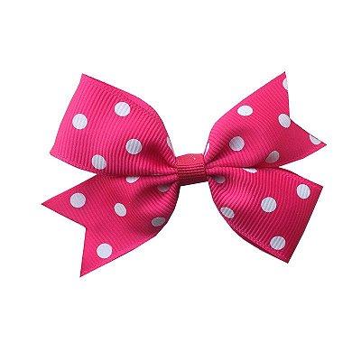 Laço Catavento Simples Rosa Escuro com Poá Branco - Provence