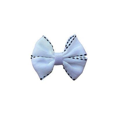 Laço Pequeno Branco Pespontado - Paris Petit